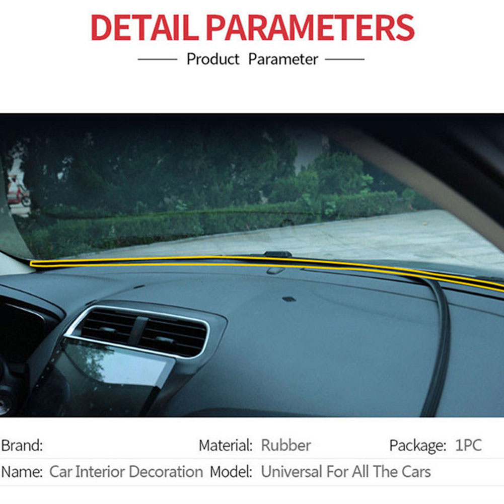 Delicious 1.6m Center Console Car Accessories Edge U Shape Sealing Strip Windshield Rubber Dashboard Sound Insulation Easy Apply Shrink-Proof
