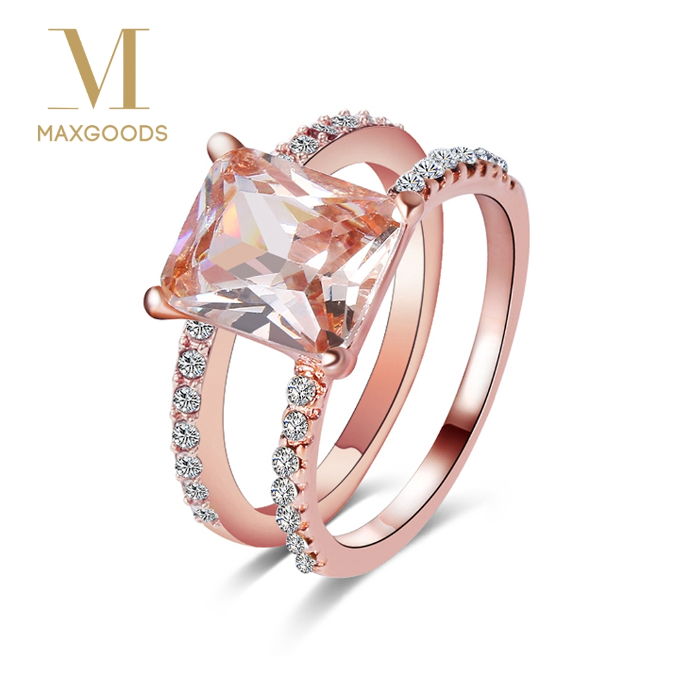 Wedding 18k Rose Gold Plated Red Color Rhinestone Ring Elegant Crystal Jewelry