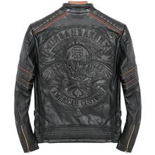 Mens Genuine Leather Jacket Motorcycle Skull Retro Vintage Coat Slim Fit Punk Rock Pilot Jacket Sheepskin