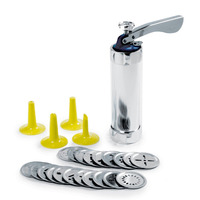 Cookie Press Kit Gun Machine Cookie Making Cake Decoration 20 Press Molds & 4 Pastry Piping Nozzles Cookie Tool Biscuit Maker