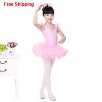 Girls Kids Cute Pink Lace Ballet Tutu Dress Sleeveless Training Dance Leotard Skirt Tutu Dance Costume