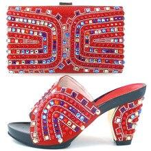 Rot Italienische Schuhe Mit Passender Tasche Qualität Italien Schuh und Tasche Set Für Hochzeit Mode Dame Sandale Mit Steinen TH03