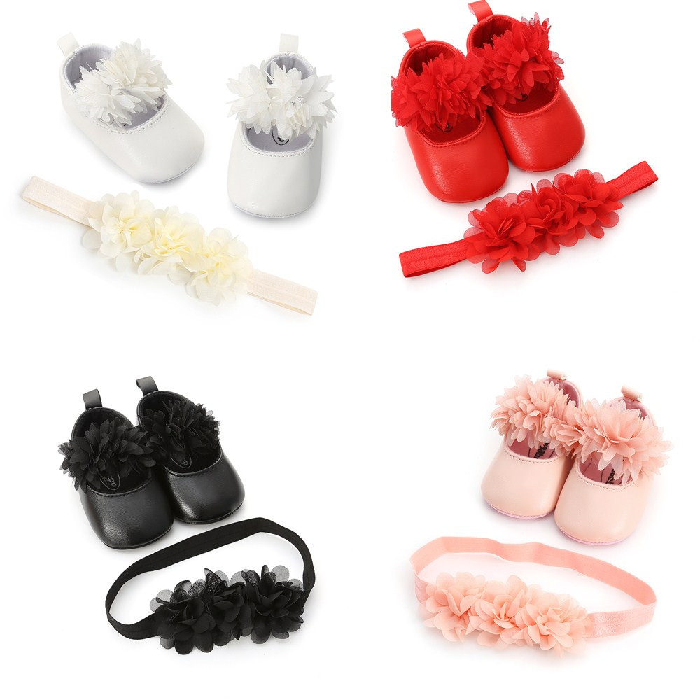 Moccasin Baby Shoes With  Headband For Newborn Girl Infant Leather Sneakers With Flower Headband  Red Leather Sole For Baby Girl