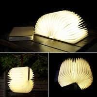 나무 flodable led nightlight 책 빛 크리 에이 티브 led 책 램프, 휴대용 usb 충전식 밤 빛 책상/테이블 키즈 연구
