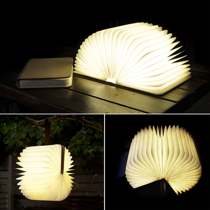 Wooden Flodable LED Nightlight Book light Creative LED Book Lamp,Portable USB Rechargeable Night light for Desk/Table Kids Study led night light folding pages book light creative usb port rechargeable desk lamp wooden magnet cover home table light lamp