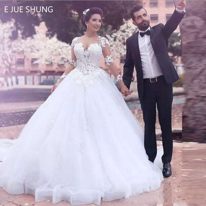 E JUE SHUNG White Lace Appliques Ball Gown Wedding Dresses Sheer Back Long Sleeves Wedding Gowns Bride Dress Robe De Mariee