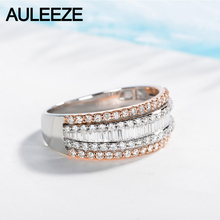 AULEEZE Luxury 1.2CTTW Natural Diamond 18K White Rose Gold Ring Real Diamond Gold Jewelry Engagement Ring For Women Wedding Band