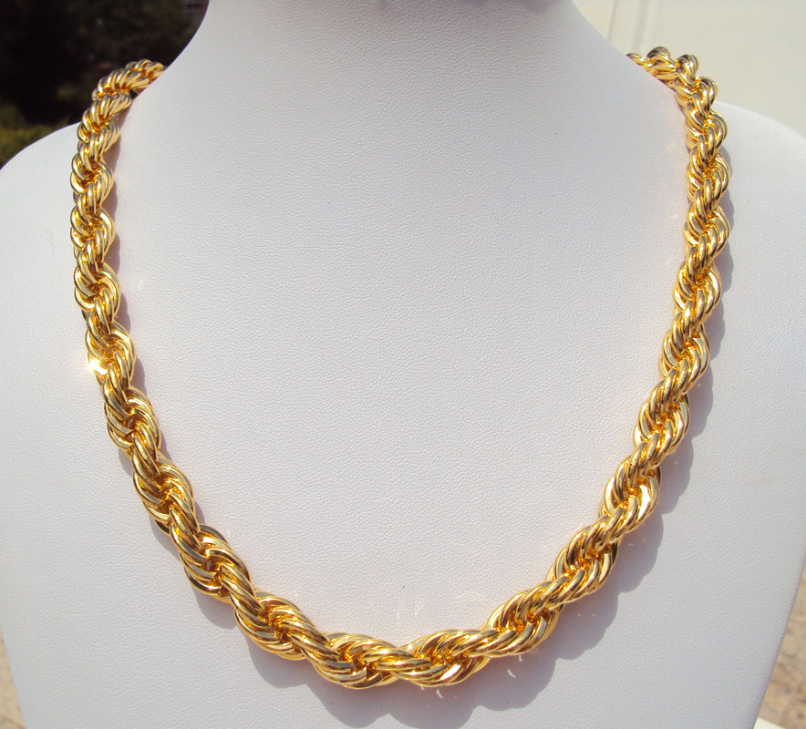 x2 Gold GF Thick Rope Cuban Twist Chain 60cm*10mm Iced Out Necklace Hip Hop Bling Franco Miami FREE SHIPPING box packing box chain 60cm simulated diamonds 70mm big pendant jesus pendant christ the redeemer bling hip hop mens necklace