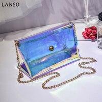 LANSO Summer Women Beach Bag PVC Clear Transparent Bags Small Chain Hologram Handbags High Quality Famale