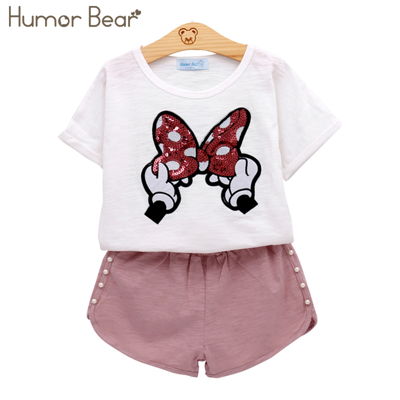 Humor Bear Baby Girls Clothes Kids Set Fashion Bow Short Sleeve T-Shirt +Pant Baby Girls Clothing Set Kids Cartoon Clothes Set lonsant new 2018 summer baby girls kids girls love heart bow vest t shirt bow plaid shorts set sleeveless round neck clothing