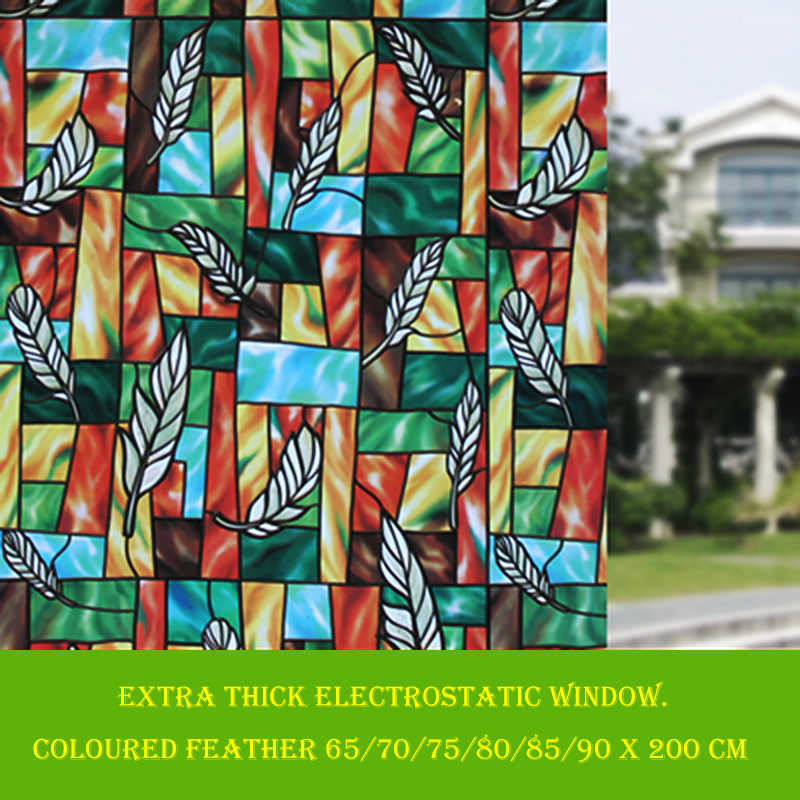 Vinyl Stained Glass Window Film.Static Electricity Cling Stained Glass Window Film No Adhesive Uv Block Privacy Vinyl Film 35 4 By 78 7 Inch Feather
