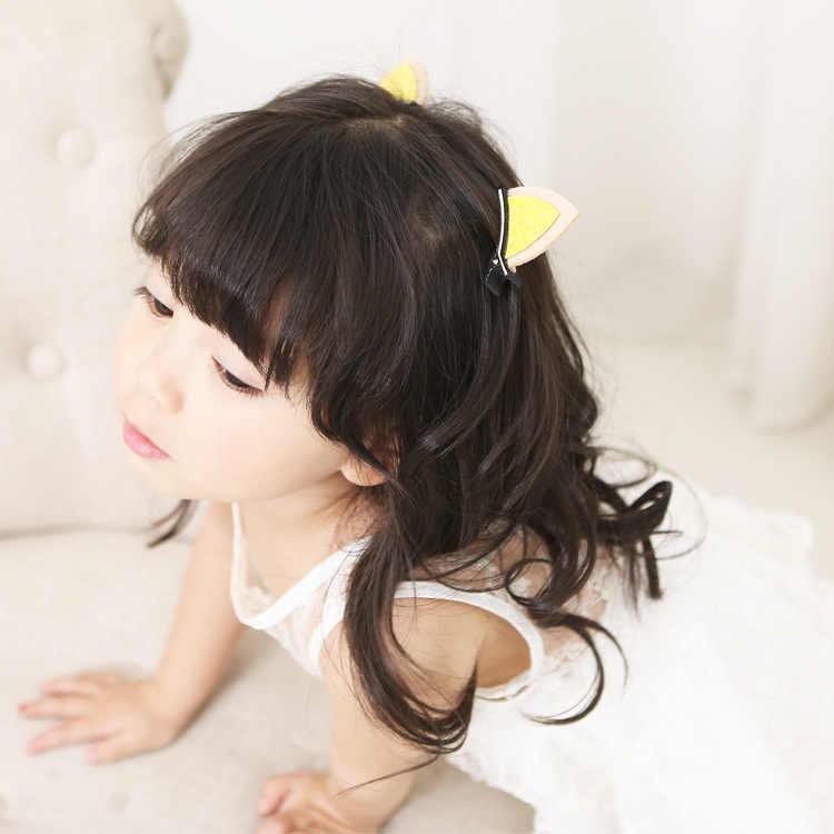 新韓国ステレオ猫耳ヘアクリップスパークリングウサギの耳スパークリング宝石クリスタル髪のグリップ女の子ヘアアクセサリー