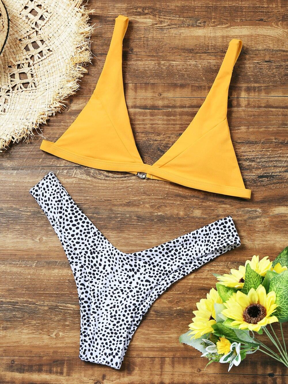 Swimwear Bikinis Women 2018 High Cut Leopard Bikini Set