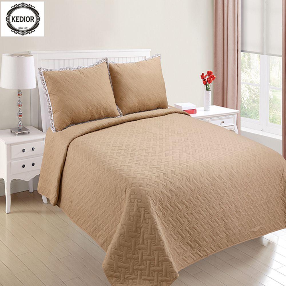 Модное хлопковое постельное белье покрывало однотонная разноцветная вышивка Европейский код двуспальная кровать покрывало, три комплекта...