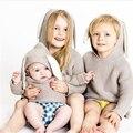 Nueva Primavera Otoño Niños Estilo Largo Del Oído de Conejo Con Capucha Suéteres para Niños Niñas Bebé Suéter de Punto Cardigan Ropa para 1-5Y