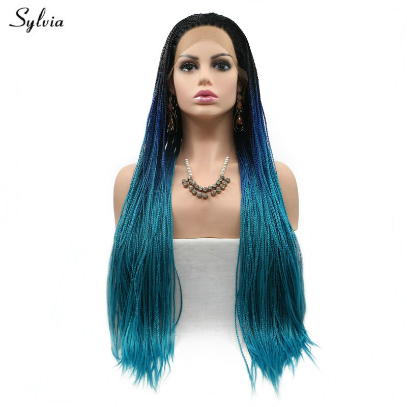 Sylvia Synthetic Lace Front Wig Long Hair Black Roots Ombre Blue Brown Yellow Blonde Lace Front