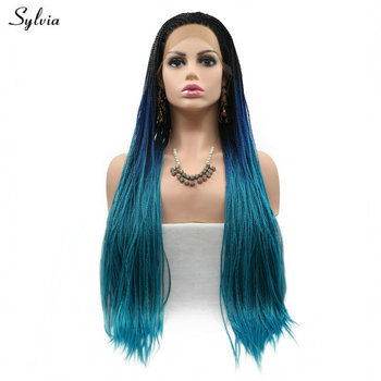 Sylvia Synthetic Lace Front Wig Long Hair Black Roots Ombre Blue Brown Yellow Blonde Lace Front Wigs Braided Box Braids Wigs