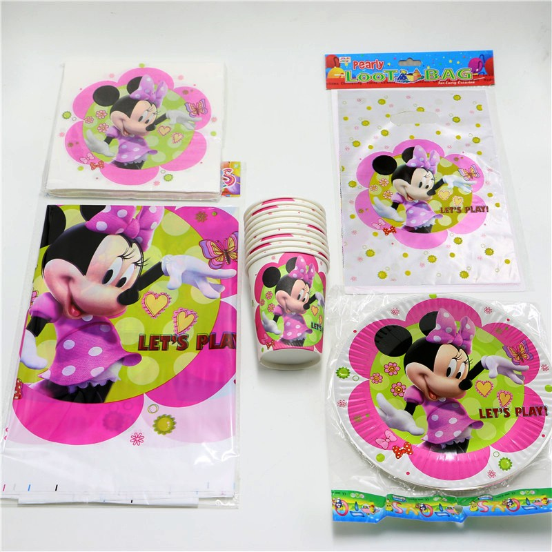 81pcslot kids favors cartoon tissues minnie mouse plates for Baby minnie mouse party decoration