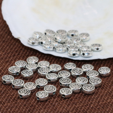 High grade fashion spacers beads accessories 7mm Tibet silver plated round rondelle wheel carved 100pcs jewelry findings B2538