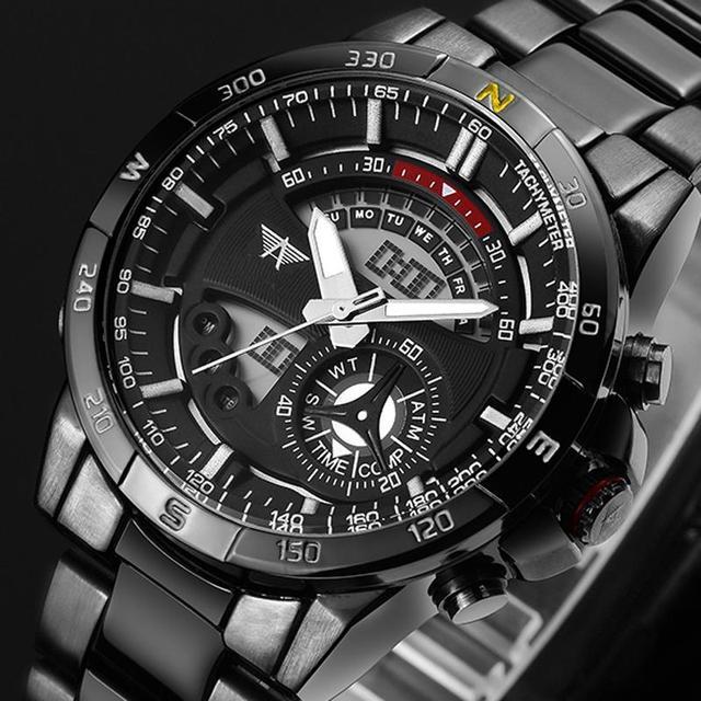 AMST Marca de Lujo Horas Reloj de Cuarzo LED Digital Relojes Deportivos Militar hombres Reloj de Acero Llena Masculino Relogio del masculino