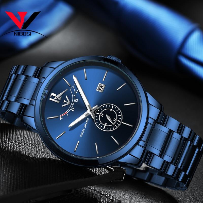 NIBOSI Watches Men Fashion Watch 2019 Luxury Brand Waterproof Full Steel Quartz Analog Wristwatch Blue Reloj Hombre 2018 Relogio