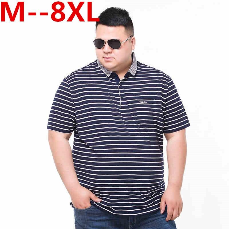 Plus la taille 10XL 8XL 6XL 5XL 4XL 92% Coton camisa Hommes Polo chemise 2018 Casual Rayé Mince manches courtes Big grande taille lâche hommes