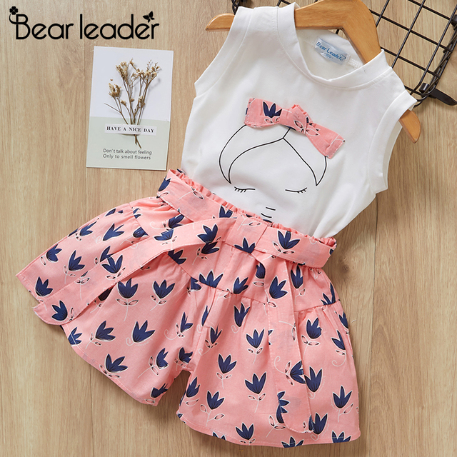 Bear Leader 2019 New Summer Casual Children Sets Flowers Blue T-shirt+  Pants Girls Clothing Sets Kids Summer Suit For 3-7 Years