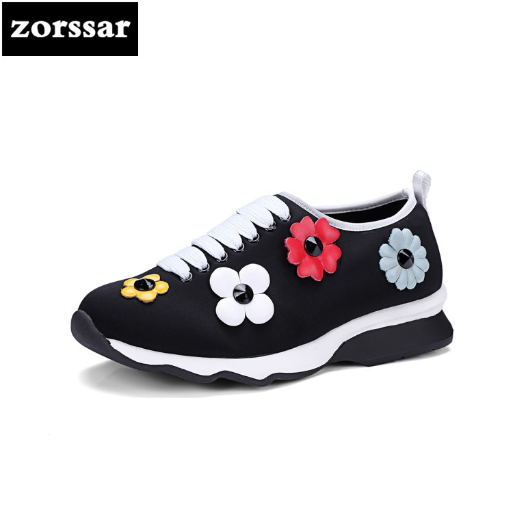 {Zorssar} 2018 Stretch Fabric Fashion Flowers flats Women Sneakers Breathable summer Casual Flat loafers women Walking shoes women s shoes 2017 summer new fashion footwear women s air network flat shoes breathable comfortable casual shoes jdt103