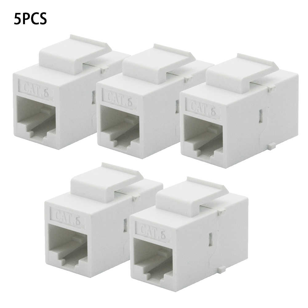 5Pcs/ Lot CAT6 RJ45 for Keystone Jack Female White Coupler Insert Snap-in Connector Socket Adapter Port Wall Plate Outlet Panel