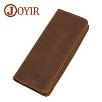 JOYIR 100 Crazy Horse Men S Wallets Genuine Leather Vintage Casual Long Credit Card Holders Dollar