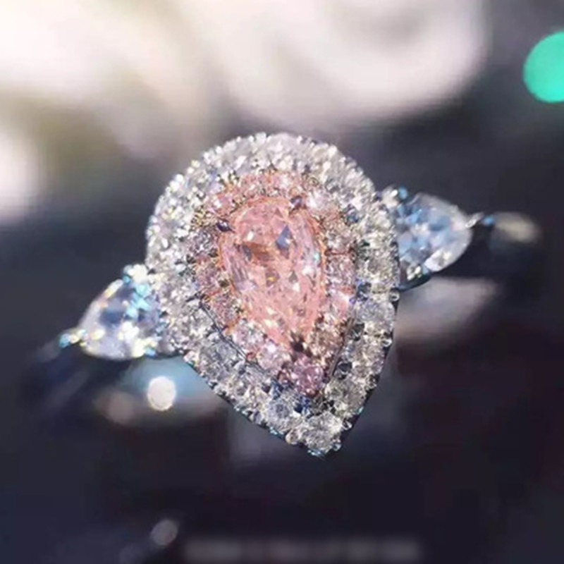 Brand Jewelry 925 Sterling Silver Ring Drop-cut 2ct Diamond Pink 2 Surround Pave Setting Cz Wedding Band Rings For Women Sz 4-9