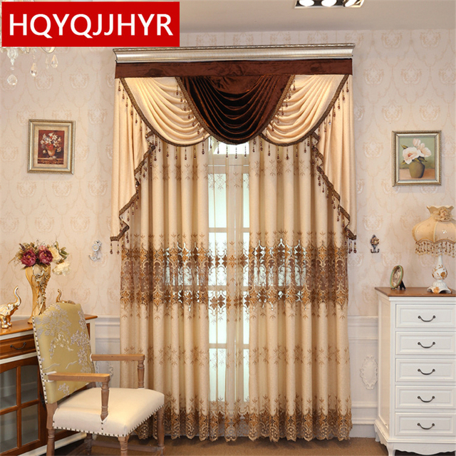 European Luxury Beige High Quality Embroidery Curtains For Living Room  Windows High End Custom