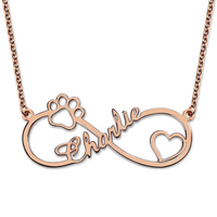 Wholesale Infinity Paw Print Name Necklace Sterling Silver Dog Paw Necklace