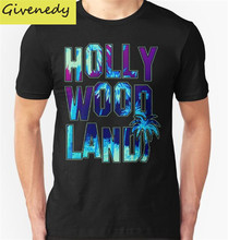 Free Shipping Hollywood Land Printed 2016 New Summer T-Shirt Men 100% Cotton O-Neck Fashion Short T Shirts Plus Size S-2XL