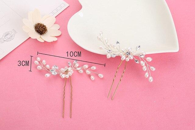 1 PZ Capelli Del Rhinestone Della Perla spina matrimonio sposa copricapo gioielli fatti a mano piccolo tornante accessori per capelli da sposa per copricapo