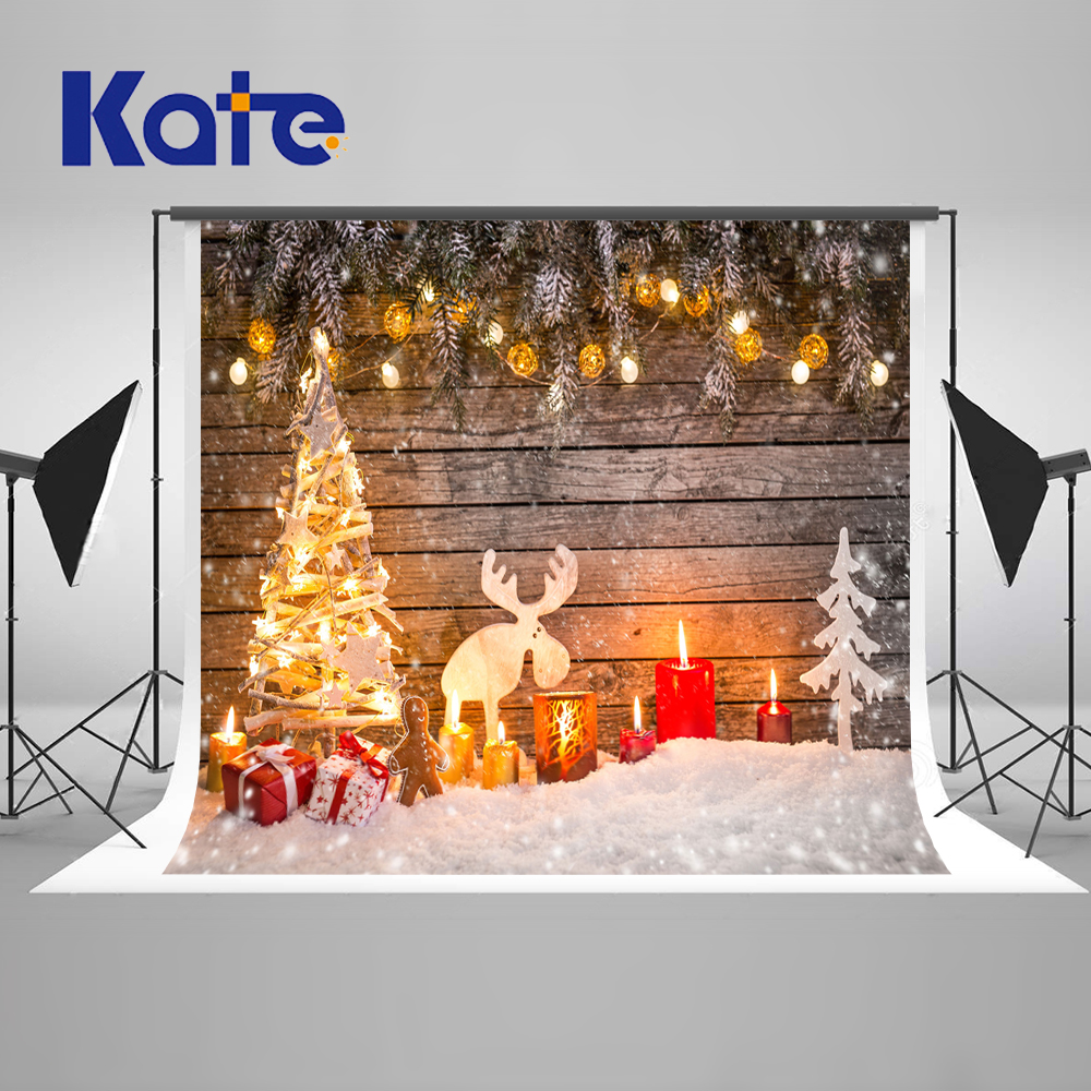 Kate Retro Wood Photography Backdrops Christmas Christmas Tree Ball, Candle Family Photography Backdrops Winter Background сумка kate spade new york wkru2816 kate spade hanna