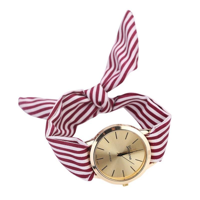 Fashion statement 2018 Women Stripe Floral Cloth Quartz Dial Bracelet Wristwatch Watch Faux Chronograph Plated Classic Quartz