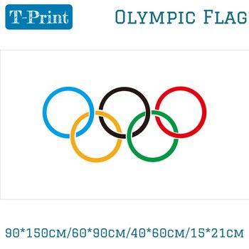 Летние кольца для баннеров, 90*150 см/60*90 см/40*60 см/15*21 см, с изображением Олимпийских флагов, 5x3 фута, из полиэстера