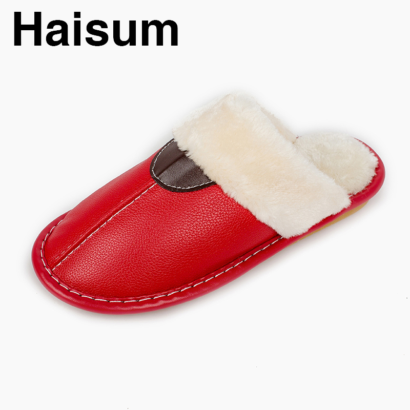 Ladies Slippers Winter Pu Leather Thick With Plush Home Indoor Non-slip Thermal Slippers 2018 New Hot Sale Haisum Tb016 men s slippers winter pu leather home indoor non slip thermal slippers 2018 new hot haisum h 8007