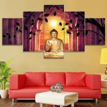 Modular 5 Piece Canvas Art Buddha Sunset Leaves Cuadros Landscape Painting Wall Home Decor For Living Room Picture