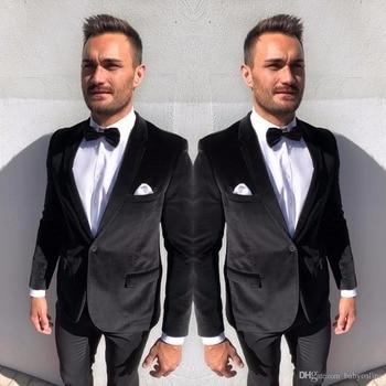 High Quality One Button Black Velvet Groom Tuxedos Notch Lapel Groomsmen Mens Suits Blazers (Jacket+Pants+Tie) W:711