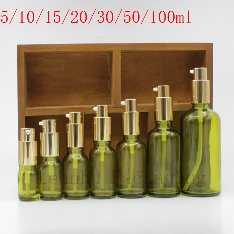Green Glass Lotion Cream Makeup Bottles With Golden Lotion Pump Empty Cosmetic Containers 15PC Refillable Essential