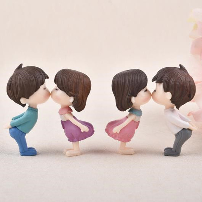 1pair Sweety Lovers Little Couple Figurines Miniatures Cute Gnome