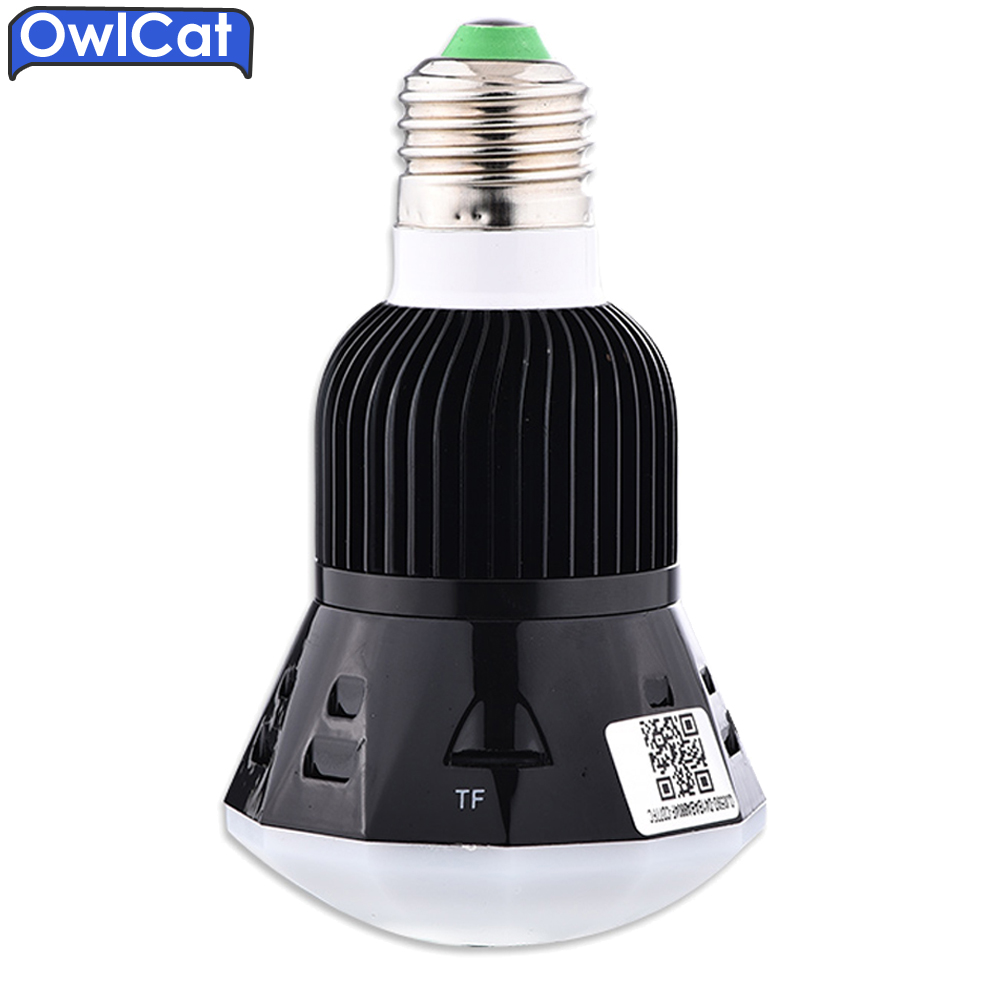 OwlCat HD 1080P Bulb Light Wireless IP Camera Mini SD Card Wifi Camera 360 Panoramic FishEye 3D VR Lens built in Microphone 360 camera 4k ultra hd panoramic action camera 1080p 3d fisheye lens vr camera wifi mini sports video camera deportiva kamera