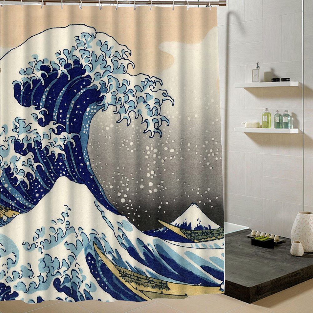 Japanese wave bathroom custom shower curtain polyester for Whole bathroom sets