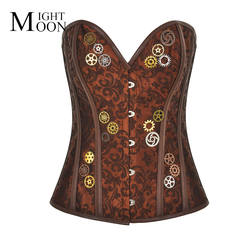 MOONIGHT Brown Jacquard With Gear Overbust Burlesque Steel Boned   Corsets   Gothique Gothic Women Steampunk   Bustier     Corset   Top