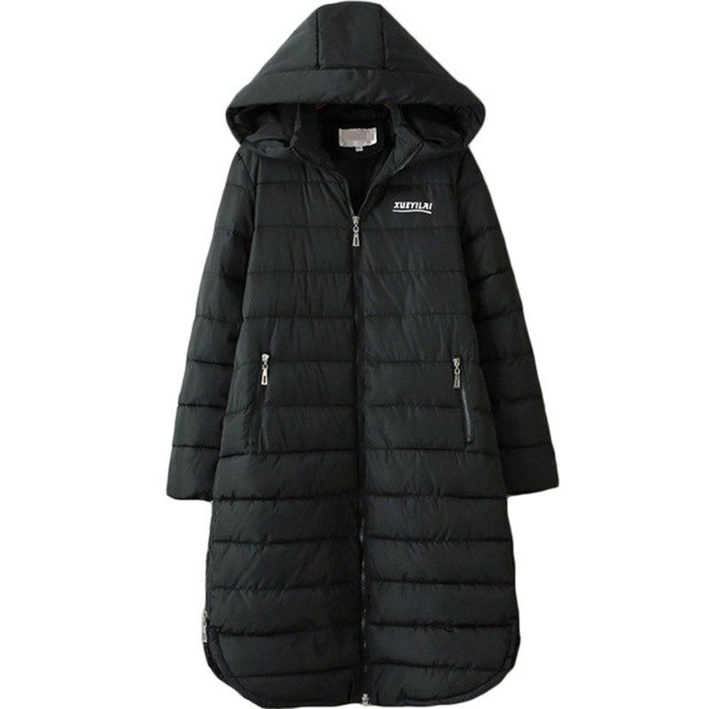 2017 Oversized Women Autumn Winter Long Hooded Parka Coat Woman 3XL-6XL Plus Size Cotton Padded Jacket Female Loose Coats XH1084 new 2017 winter autumn cotton long coats jacket women hooded padded parka