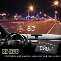 X5 Car HUD Head Up Display Vehicle OBD2 Car Speedometer Windshield Projector Driving Speed Alarm Voltage MPH KM/H Display