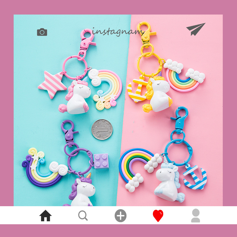 2019 Cartoon Unicorn Key Chain Rainbow PVC Animal Keychains Is Suitable For Women Package Car Decoration Keyring Jewelry Gifts
