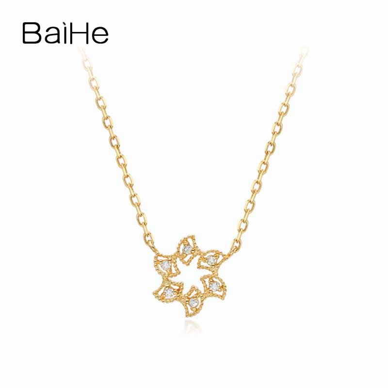 BAIHE Solid 18K Yellow Gold 0.03ct Certified Genuine Natural Diamonds Women Engagement Jewelry Elegant Cute/Romantic Necklaces baihe solid 18k yellow gold au750 engagement